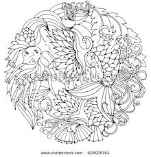 decorative element mermaid leaves fish black stock vector