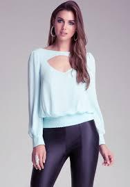 bebe blouses lyst bebe open neck blouse in blue