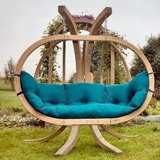 round wooden garden swing from amazonas