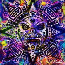 aztec sun god unowho canvas