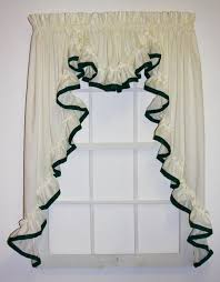 Hunter Green Window Curtains lucy 3 piece country ruffled swags u0026 filler valance window