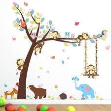 online get cheap monkey swing aliexpress com alibaba group 1 set swing monkeys on the tree wall stickers removable vinyl decal kids baby decor