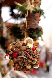 Fruit Decoration For Christmas by Folk Christmas Bauble Decoration Made Of Fruit And Sweets Stock