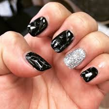 black and white marble gel nails with the dip glitter loveeeee yelp