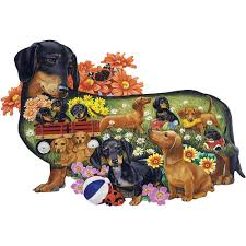 boxer dog jigsaw puzzles delightful dachshunds dog breed 750 piece shaped jigsaw puzzle