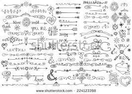 doodles borderarrowbrushesheartscrownlove decor elements