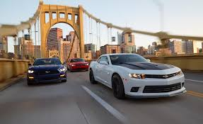 dodge challenger vs ford mustang 2015 dodge challenger r t pack 2015 chevrolet camaro ss 1le