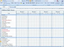 Chore Sheet Template Children Daily Chore Chart Template For Excel Formal Word Templates