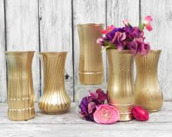Tall Metal Vases For Wedding Centerpieces by Metallic Gold Vases Etsy