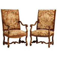 Throne Style Chair Pair Of Original Antique French Walnut And Needlepoint Throne