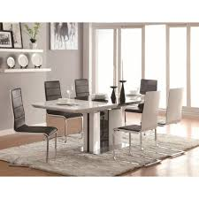 contemporary 7 piece white dining table set with upholstered broderick contemporary 7 piece white dining table set with upholstered dining chairs and chrome base