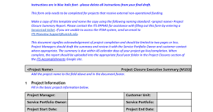 closure report template project completion report sle project completion report 8