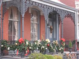 christmas decorated homes and lamposts in historic jackson ward