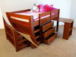 twin solid wood low loft bed with desk chest and bookcase in