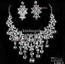 necklace wedding sets images Silver plated rhinestone jewelry sets bridal wedding necklace jpg