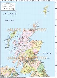Map Scotland Digital Vector Scotland Map Political Contour And Relief Maps In