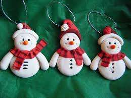 set of 3 made to order handmade sculpey clay snowmen ornaments