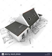 3d rendering of a house on top of architecture blueprints stock 3d rendering of a house on top of architecture blueprints