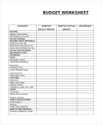 printable budget worksheet template 12 free word excel pdf