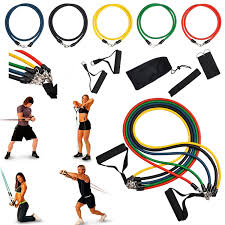 insten 11 piece set resistance exercise stretch bands fitness