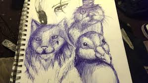 ink sketch scratch drawing one behind three by kz animal on