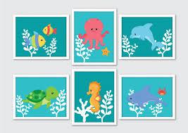 Under The Sea Nursery Decor by Under The Sea Creatures Nursery Art Prints Set Of 6 Ocean