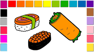 coloring pages sushi food learn color with food niguiri of