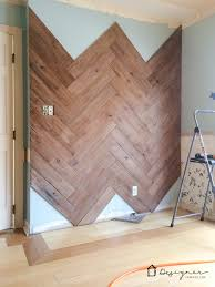 diy plank wall in herringbone made from fence designer trapped