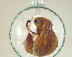custom pet portrait painted window cavalier king charles