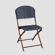 Navy Bistro Chairs Café Wicker Folding Patio Bistro Chair Navy White