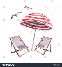 Beach Lounge Chair Umbrella Watercolor Beach Lounge Set Hand Drawn Stock Vector 287048435