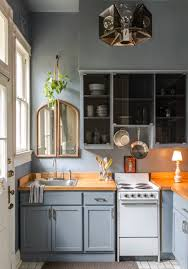 modern blue kitchen cabinets captivating small kitchen ideas with modern blue cabinet and
