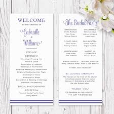 Modern Wedding Program Purple And Silver Grey Modern Script Wedding Program Order Of