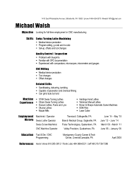 Cnc Operator Job Description For Resume by Cnc Machinist Resume Samples Template Examples