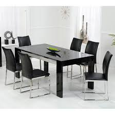 Outstanding Black Glass Dining Table And  Chairs High Gloss Black - Black and white dining table with chairs