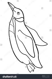 coloring pages little cute penguin swims stock vector 477146668