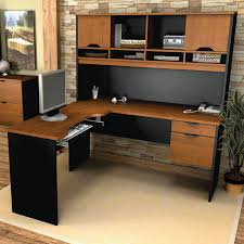 black and brown solid wood l shaped computer table with filling