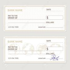 Free Cheque Template Bank Check Template Set Blank Form With Sample Signatures Vector