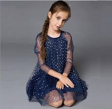 2017 high quality girls summer dress net yarn 3 4 sleeve dot dress