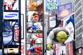 manhattan november 26 shrek balloon passing times square