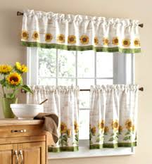 Sunflower Valance Curtains 3 Pc Sunflower Theme Curtains 2 Tiers With Valance Kitchen Home
