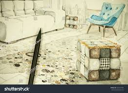 Living Room Architecture Drawing Watercolor Aquarelle Ink Freehand Sketch Perspective Stock Photo