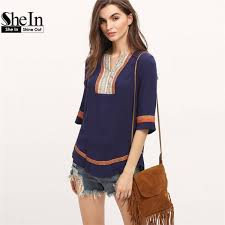 summer blouses shein casual summer tops royal blue half sleeve fit