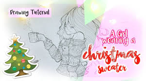 how to draw a wearing a christmas sweater youtube