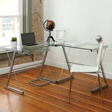 glass and metal corner computer desk multiple colors walmart com