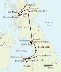 Map Of Scotland And England by Great Peaks Of Scotland England And Wales Itinerary U0026 Map