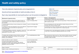 health health and safety policy template