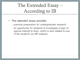 IB     Extended Essay