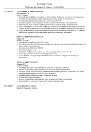 sle of resume piping superintendent resume sles velvet