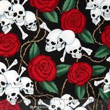 s prints skulls and roses yardage de